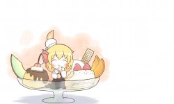Little blonde girl eating…