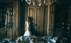 Wedding Dress Girl In Dining Room